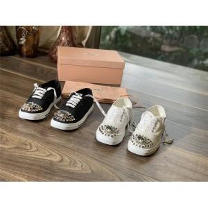 MIUMIU women's shoes crystal diamond cotton gabardine sneakers 5E450D