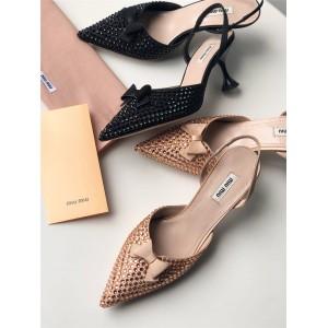 MIUMIU official website women's shoes satin back strap high heels 5I459D