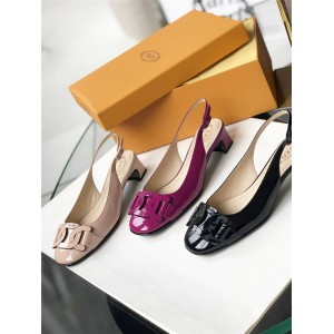 Tod's official website patent leather back empty single shoe sandals