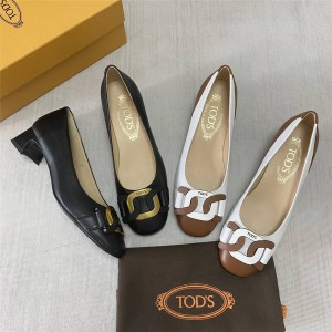 Tod's women's shoes two-tone twist leather buckle pumps