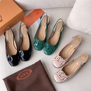 Tod's ladies patent leather back empty single shoe sandals