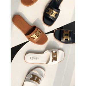Tod's women's shoes kate twist buckle flat sandals slippers