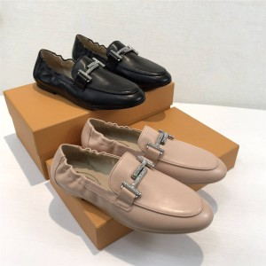 Tod's casual loafers double T buckle rhinestone single shoes