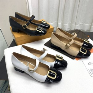 Tod's new vintage Mary Jane thick heel leather shoes