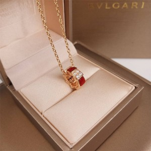 Bvlgari SERPENTI VIPER series ring red agate pendant necklace CL858380
