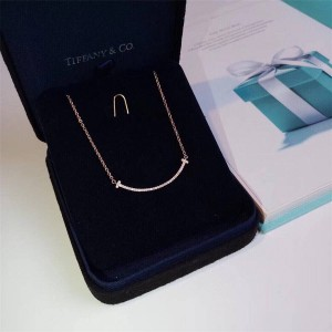Tiffany T Smile series full diamond small smile necklace