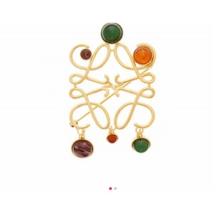 LOEWE official website new Anagram metal gem brooch