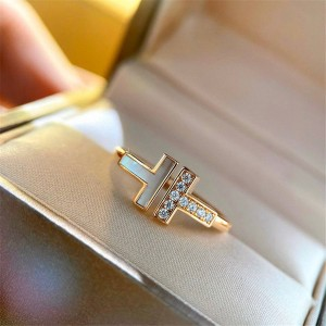 Tiffany official website genuine mother-of-pearl double T ring