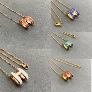 Hermes necklace enamel Mini Pop H series necklace
