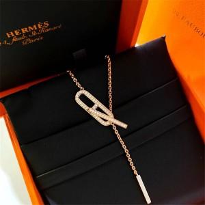 Hermes official website new diamond-studded pig nose necklace