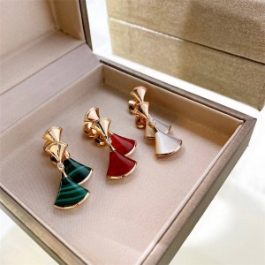 BVLGARI DREAM white mother-of-pearl, red jade and malachite scalloped earrings