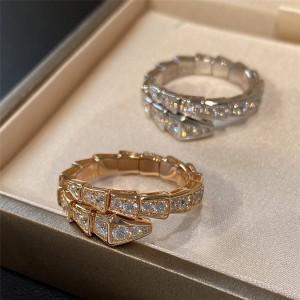 Bvlgari Serpenti series narrow serpentine ring with full diamonds
