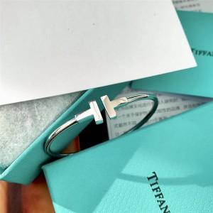 18K white gold Tiffany T series coil bracelet