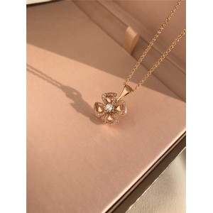 BVLGARI rose gold with diamonds Fiorever series necklace 356223