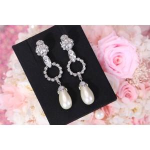 miumiu fashionable rhinestone pearl long earrings
