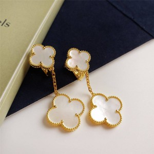Van Cleef & Arpels VCA White Fritillary Magic Alhambra Earrings 2 Pattern