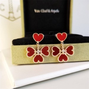 Van Cleef & Arpels VCA Carnelian Diamond Sweet Alhambra Effeuillage Earrings