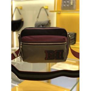bally new men's color-blocking nylon Fuston messenger bag