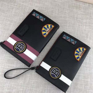 Bally clutch bag new leather stitching badge pattern handbag