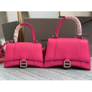 Balenciaga fluorescent rose red diamond pattern Hourglass handbag