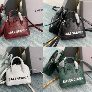 balenciaga new crocodile pattern Ville handbag shell bag