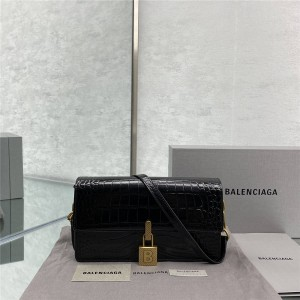 balenciaga new crocodile pattern lock bag shoulder bag