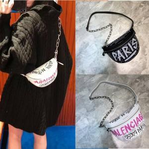 Balenciaga new graffiti print Balen half-moon waist bag chest bag
