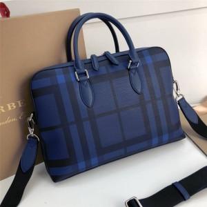 Burberry official website new men's blue check briefcase