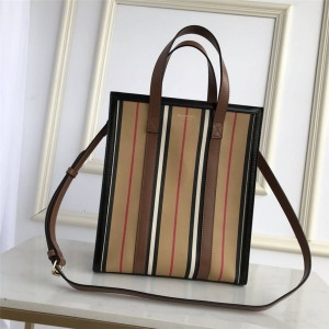 Burberry small iconic striped environmental canvas vertical tote bag 80246861