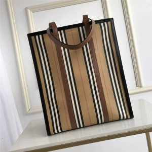 Burberry Iconic Stripe Eco Canvas Vertical Tote Bag Shopping Bag 80247271