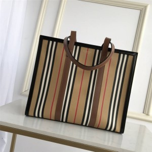 Burberry small striped canvas horizontal tote bag shopping bag 80247861