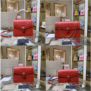 bvlgari new hit color Serpenti Forever snake head bag big red