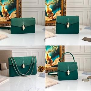 bvlgari pearl fish skin Serpenti Forever handbag devil green