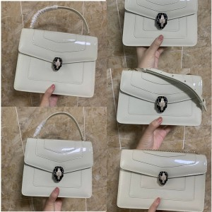 Bvlgari Serpenti Forever Snake Head Bag Patent Leather Mirror Milkshake White