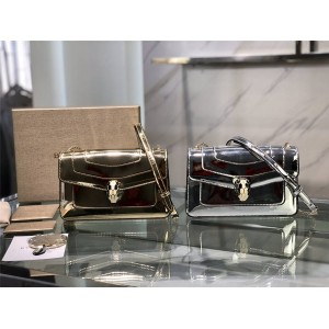 bvlgari patent leather mirror gold and silver Serpenti Forever handbag 38102