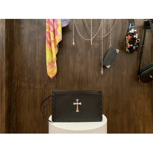 Chrome hearts CH woven-trimmed sterling silver cross clutch