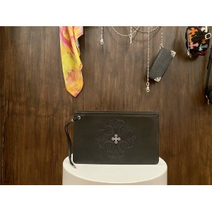 Chrome hearts CH new leather small cross flower clutch