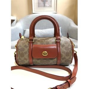 Coach handbag new PVC spell leather barrel portable cylinder bag 54396