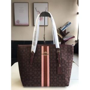 Coat handbag new PVC stripe zipper shopping bag tote bag F39043