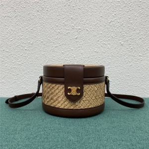 celine TAMBOUR medium woven cow leather handbag 195192