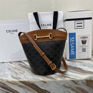 celine CRÉCY logo printed cow leather bucket bag 192072