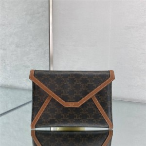 celine new TRIOMPHE canvas retro clutch envelope bag