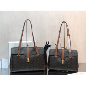 celine SOFT 16 medium fabric and cow leather handbag 195542/194042