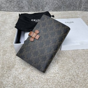 Celine large logo-print canvas and sheep leather wallet