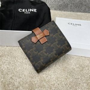 Celine medium TRIOMPHE canvas logo print sheep leather wallet 10B642