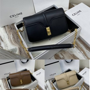 celine new 16 satin cow leather chain bag 194023