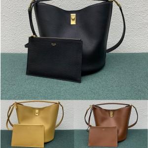 celine BUCKET 16 soft grained cow leather handbag bucket bag 195573