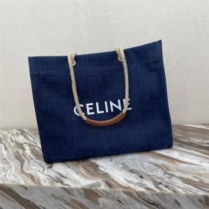 CABAS square CELINE printed denim and cow leather handbag 196992