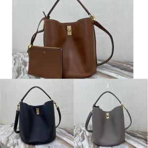 celine BUCKET 16 smooth cow leather bucket bag 195573