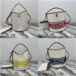 celine BUCKET 16 wool textile fabric and cow leather bucket bag 195572